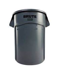 Brute Vented Trash Receptacle, Round, 44 Gal, Gray