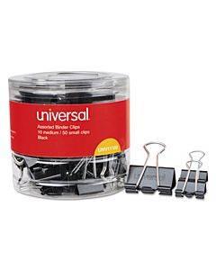 Binder Clips In Dispenser Tub, Assorted Sizes, Black/silver, 60/pack