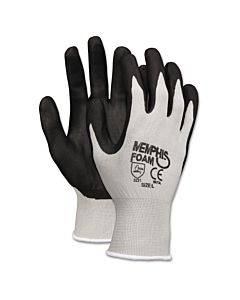 Economy Foam Nitrile Gloves, Large, Gray/black, 12 Pairs