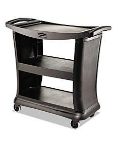 Executive Service Cart, Three-shelf, 20.33w X 38.9d X 38.9 H, Black