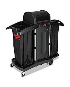 High-security Housekeeping Cart, Two-shelf, 22w X 51.75d X 53.5h, Black/silver