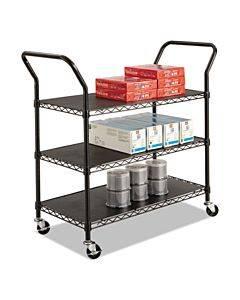 Wire Utility Cart, Three-shelf, 43.75w X 19.25d X 40.5h, Black