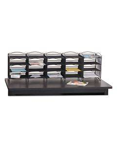 Onyx Mesh Literature Sorter, 20 Compartments, 19 X 15.25 X 59, Black