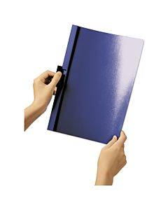 Vinyl Duraclip Report Cover, Letter, Holds 60 Pages, Clear/dark Blue, 25/box