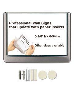 Click Sign Holder For Interior Walls, 6 3/4 X 5/8 X 5 1/8, Gray