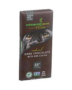 Endangered Species Natural Chocolate Bars - Dark Chocolate - 88 Percent Cocoa - 3 Oz Bars - Case Of 12