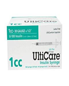 "Ulticare Insulin Syringe 30g X 1/2"", 1 Ml (100 Count) Part No. 09315 (100/box)"