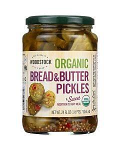 Woodstock Organic Pickles - Sweet Bread & Butter - Sliced - Case Of 6 - 24 Oz.