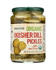 Woodstock Organic Pickles - Kosher Dill - Sliced - Case Of 6 - 24 Oz.