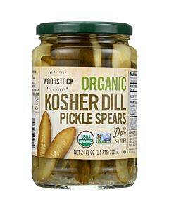 Woodstock Organic Pickles - Kosher Dill - Spears - Case Of 6 - 24 Oz.