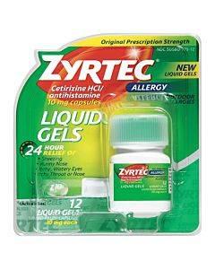 Zyrtec Allergy Liquid Gels, 10 Mg Capsule, 25 Count Part No. 020425 (1/ea)