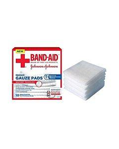 "J & J Band-aid First Aid Gauze Pads 3"" X 3"" 10 Ct Part No. 111657000 (10/box)"