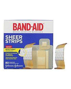 Band-aid Sheer Strip Adhesive Bandage, Assorted 80 Count Part No. 117134 (80/box)