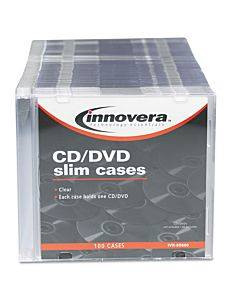 Cd/dvd Slim Jewel Cases, Clear/black, 100/pack