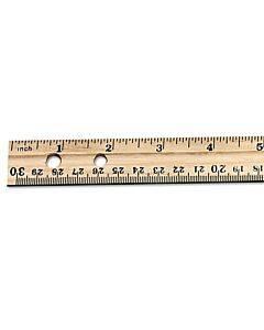 "Beveled Wood Ruler W/single Metal Edge, 3-hole Punched, 12"", Natural, 36/box"