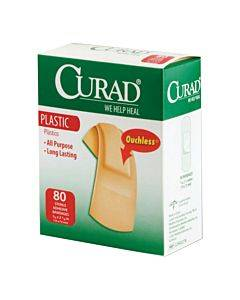 Curad Plastic Adhesive Bandage, Assorted Sizes Part No. Cur45157rb (80/box)
