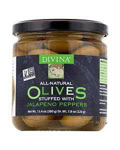 Divina - Green Olives Stuffed With Jalapeno Peppers - Case Of 6 - 7.8 Oz.