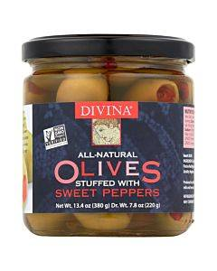 Divina - Olives Stuffed With Sweet Peppers - Case Of 6 - 7.8 Oz.