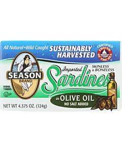 Season Brand Sardines - Skinless And Boneless - In Olive Oil - No Salt Added - 4.375 Oz - Case Of 12