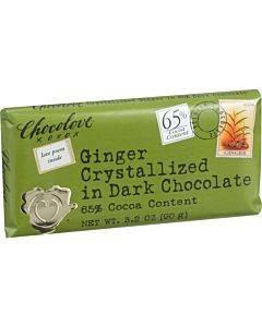 Chocolove Xoxox - Premium Chocolate Bar - Dark Chocolate - Ginger Crystallized - 3.2 Oz Bars - Case Of 12
