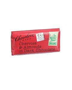 Chocolove Xoxox - Premium Chocolate Bar - Dark Chocolate - Cherries And Almonds - Mini - 1.3 Oz Bars - Case Of 12