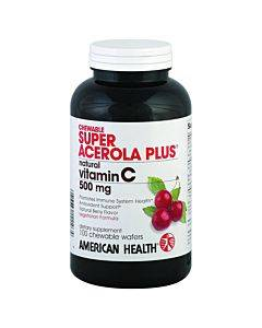 American Health - Super Acerola Plus - 500 Mg - 100 Chewable Wafers
