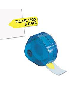 """Arrow Message Page Flags In Dispenser, """"please Sign And Date"""", Yellow, 120 Flags"""
