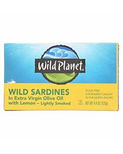 Wild Planet Sardines In Oil - Lemon - Case Of 12 - 4.375 Oz.
