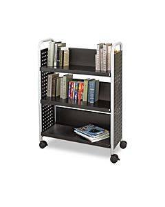 Scoot Book Cart, Three-shelf, 33w X 14.25d X 44.25h, Black