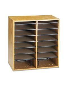 Wood/laminate Literature/cd Sorter, 16 Section, 19 1/2 X 11 3/4 X 21, Medium Oak