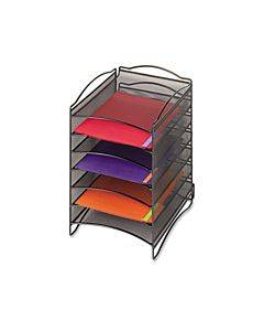 Onyx Steel Mesh Lliterature Sorter, Six Compartments, Black