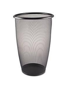 Onyx Round Mesh Wastebasket, Steel Mesh, 9 Gal, Black