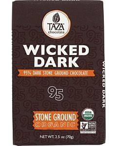 Taza Chocolate Stone Ground Organic Dark Chocolate Bar - Wicked Dark - Case Of 10 - 2.5 Oz.