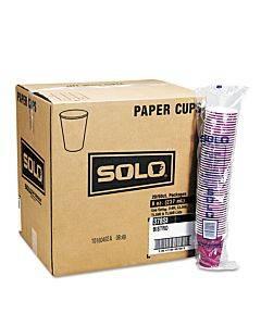 Solo Paper Hot Drink Cups In Bistro Design, 12 Oz, Maroon, 50/bag, 20 Bags/carton