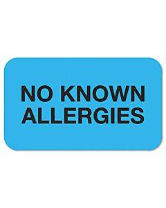 Medical Labels, No Known Allergies, 0.88 X 1.5, Light Blue, 250/roll
