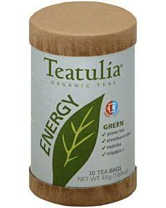 Teatulia Energy Tea - Organic - Green - Case Of 6 - 30 Bag