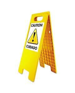 "Floor Tent Sign, Doublesided, Plastic, 10 1/2"" X 25 1/2"", Yellow"