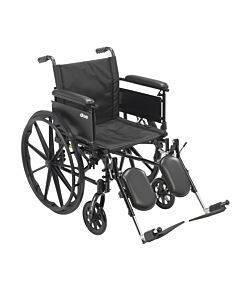 """Cruiser X4 Lightweight Dual Axle Wheelchair With Adjustable Detachable Arms, Full Arms, Elevating Leg Rests, 18"""" Seat"""