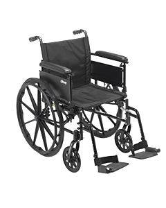 """Cruiser X4 Lightweight Dual Axle Wheelchair With Adjustable Detachable Arms, Full Arms, Swing Away Footrests, 20"""" Seat"""