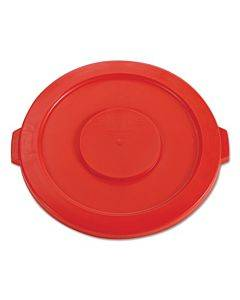 """Round Flat Top Lid, For 32 Gal Round Brute Containers, 22.25"""" Diameter, Red"""