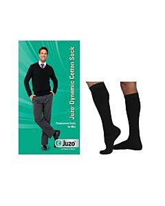 Juzo Dynamic Cotton For Men Knee-high, 20-30, Full Foot, Black, Size 4 Part No. 3521adff104 (2/package)
