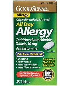 Goodsense 24 Hr Allergy Cetirizine Tablets, 10mg, 45 Ct Part No. Lp14967 (45/box)