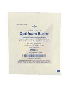 """Optifoam Basic Polyurethane Foam Dressing With Fenestration, 3"""" X 3"""" Part No. Msc1133f (1/ea)"""