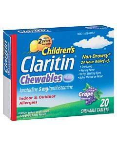 Claritin Children's Chewable Tablets, Grape, 20 Count Part No. 80657 (1/ea)