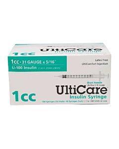 "Ulticare Syringe 31g X 5/16"", 1/2 Ml (90 Count) Part No. 91001 (90/box)"