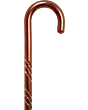 Spiral Tourist Handle Cane, Rose Stain, 36