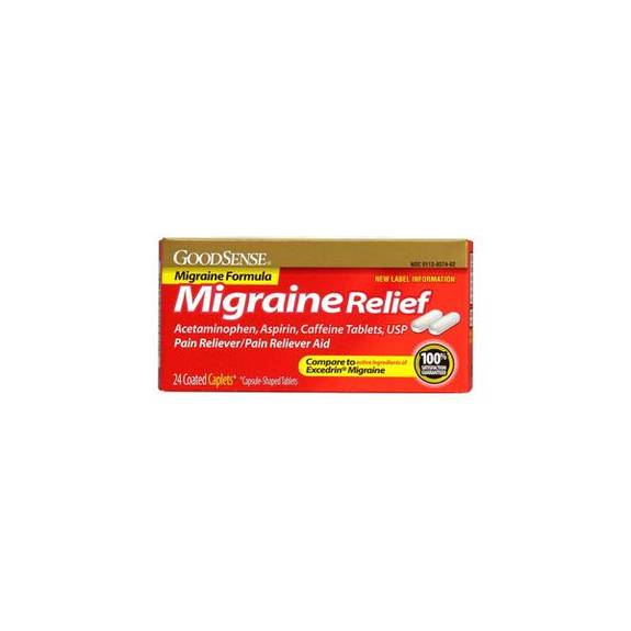 Migraine Relief Coated Caplet (24 Count) Part No. Lp14581 (24/box)