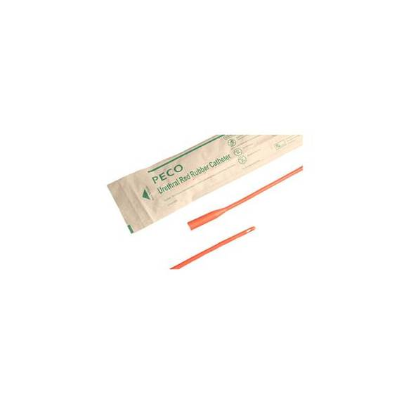 """PECO Red Rubber Coude Catheter 14 Fr 16"""" (pack of 1)"""
