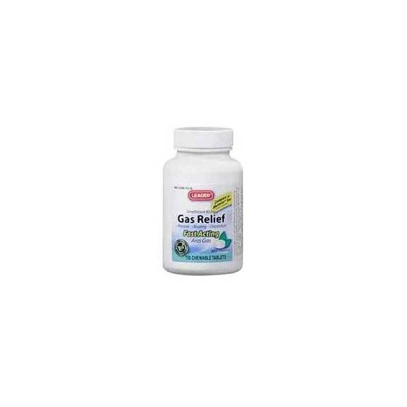 Leader Simethicone Gas Relief Tablets 80 mg (100 Count) Part No. 2804144 Qty 1