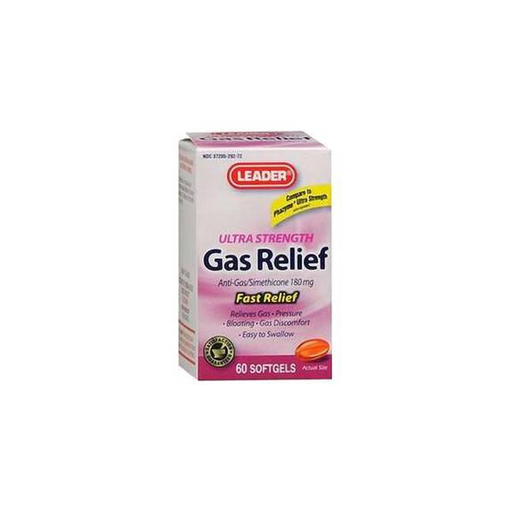 Leader Simethicone Gas Relief Softgels 180 mg (60 Count) Part No. 3312469 Qty 1